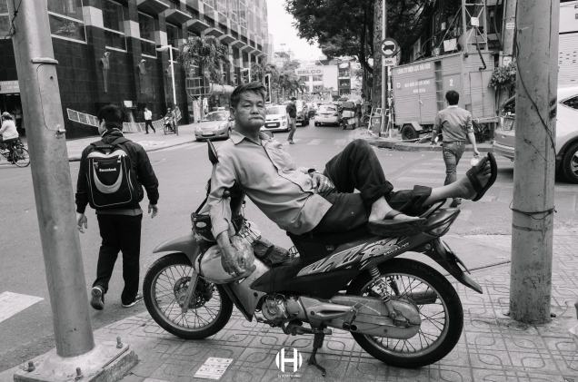 Vietnam, Saigon, Men, Moped, Motorcycle, Street Photography, Street, Black and White, Ricoh GR, Ricoh,_-10