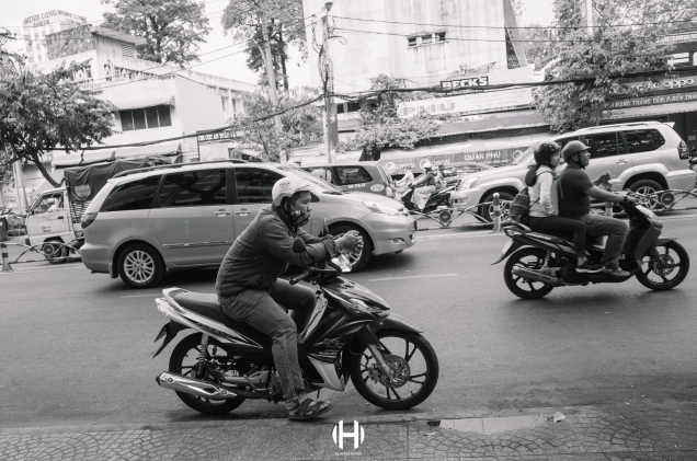 Vietnam, Saigon, Men, Moped, Motorcycle, Street Photography, Street, Black and White, Ricoh GR, Ricoh,_-2