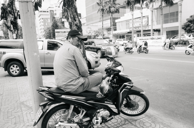 Vietnam, Saigon, Men, Moped, Motorcycle, Street Photography, Street, Black and White, Ricoh GR, Ricoh,_-4