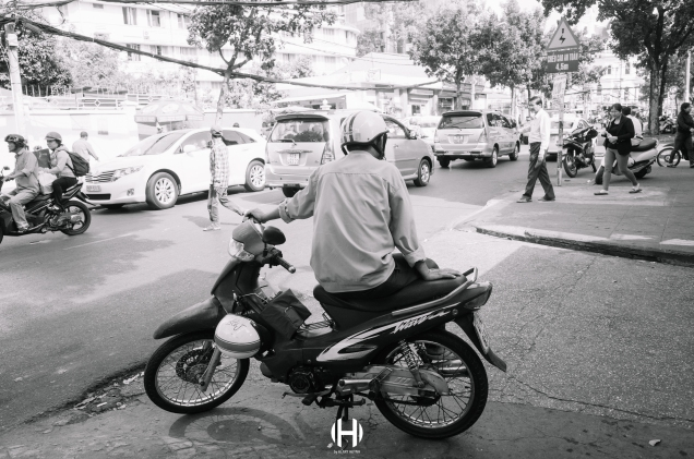 Vietnam, Saigon, Men, Moped, Motorcycle, Street Photography, Street, Black and White, Ricoh GR, Ricoh,_-5