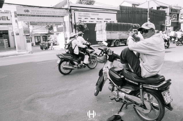 Vietnam, Saigon, Men, Moped, Motorcycle, Street Photography, Street, Black and White, Ricoh GR, Ricoh,_-8