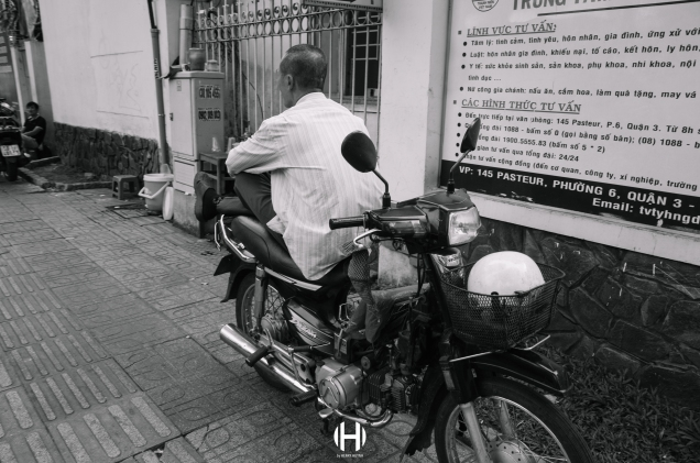 Vietnam, Saigon, Men, Moped, Motorcycle, Street Photography, Street, Black and White, Ricoh GR, Ricoh,_-9