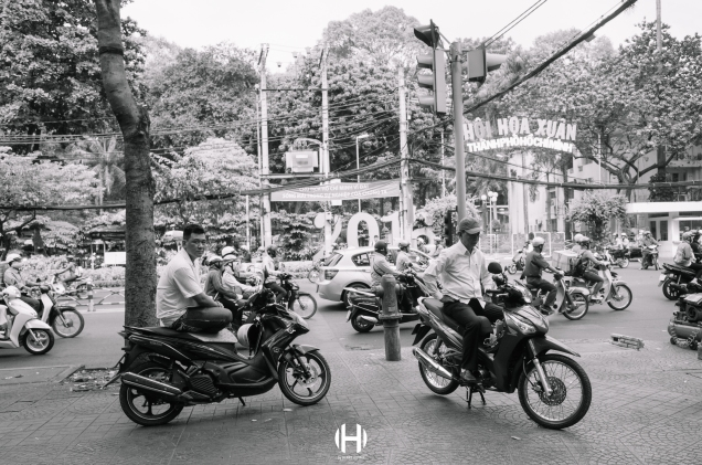 Vietnam, Saigon, Men, Moped, Motorcycle, Street Photography, Street, Black and White, Ricoh GR, Ricoh,_